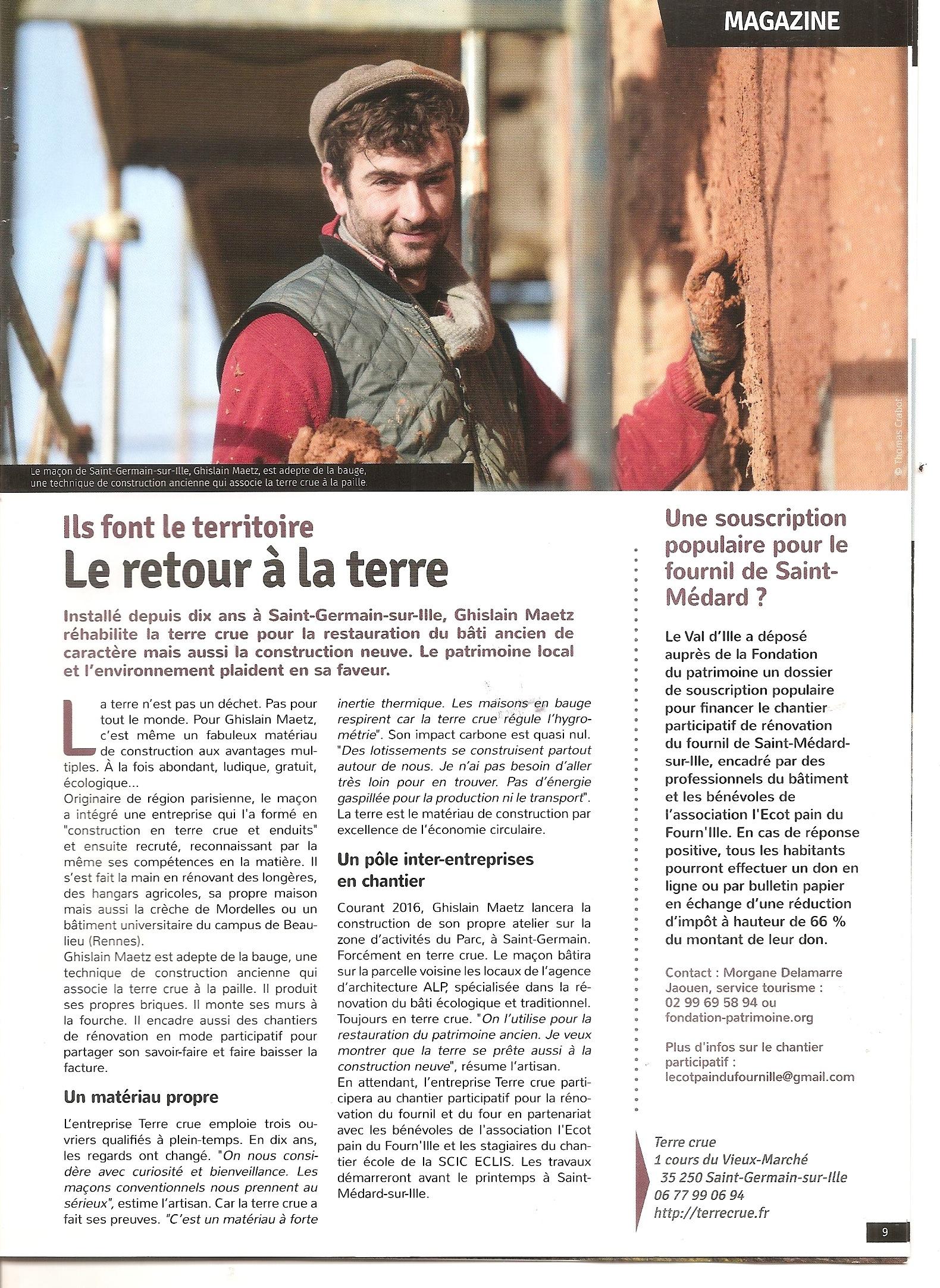 article Val d'Ille terre crue Ghislain maetz