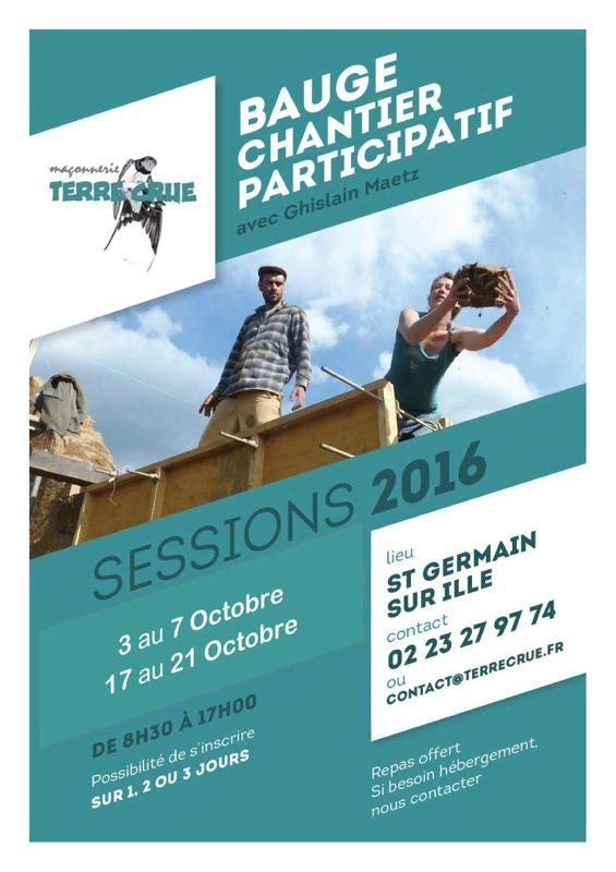 chantier participatif en octobre construction d'un atelier en bauge coffré
