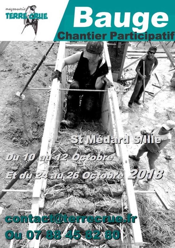 chantier participatif St Médard sur Ille 2018 Octobre, bauge coffrée