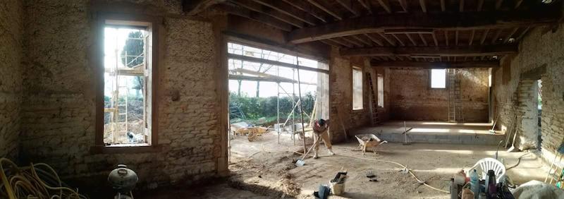 ouverture monumentale double carré Atelier couet Horbowa et EIRL Terre Crue