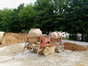 Dalle et poste de travail aménagement extérieur EIRL Terre Crue semaine 3 du confinement
