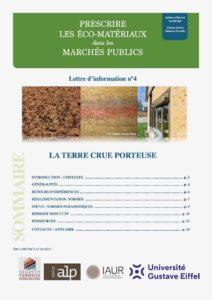 prescrire les écomatériaux dans les marchés publics : terre crue porteuse RBBD, CTA, ALP, IAUR, Unniversité Gustave Eiffel
